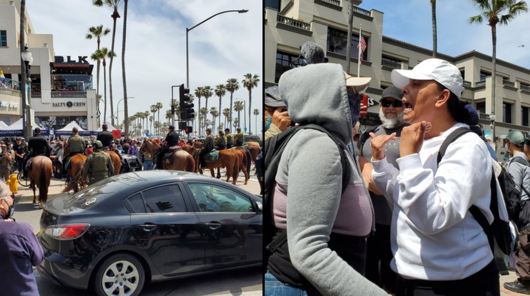 """""""Total Chaos"""" – Unlawful Assembly Declared In Huntington Beach When """"White Lives Matter"""" Clashed With Counter-Protesters"""