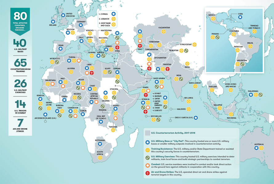 Smithsonian Map Shows Us Military Operating In Over 40 Of Worlds - Map-of-us-countries